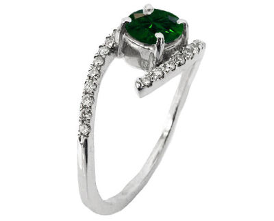 Solitaire Emerald Twist Ring, Curved Shank Unique Engagement Ring, Celtic Ring 14K White Gold $1567.00