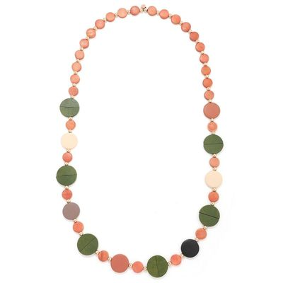Wood Necklace - Rose Gold/Green