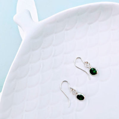 Silver Emerald Hook Earrings, May Birthstone, 55th Wedding Anniversary, Push Present, Gift for Her, Birthday Gift, I Love You Gift £28.50