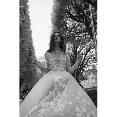 Liz Martinez 2018 Tulle Embroidery Long Sleeves Sweet Ball Gown Illusion Ivory Chapel Train Wedding Dress - Customize Your Prom Dress