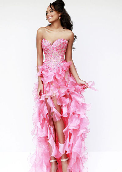 Organza Ruffled Pink High Low Dress With Floral Applique Top