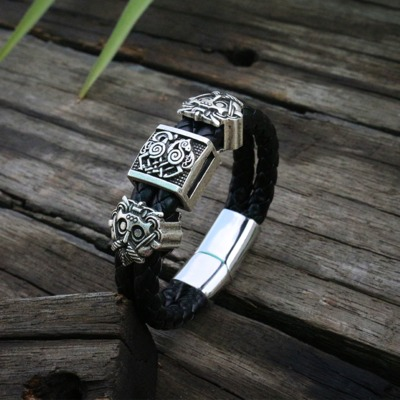 Black Braided Leather Cuff Bracelet $21.99