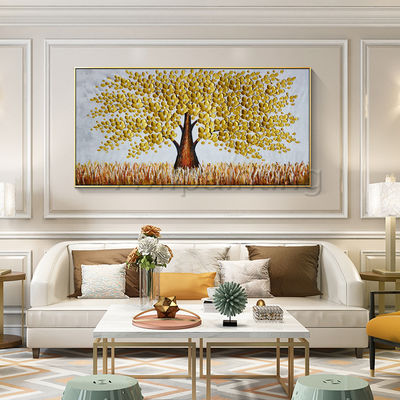 Gold art Tree flower Painting acrylic paintings on canvas original abstract art large Wall Art palette knife wall Pictures Home Decor $149.00