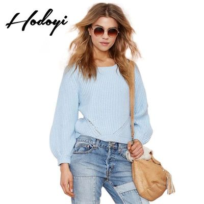 Vogue Simple Ripped Bishop Sleeves Scoop Neck Jersey One Color Fall Casual 9/10 Sleeves Sweater - Bonny YZOZO Boutique Store