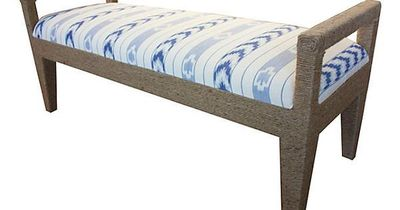 """Solana Rope Bench, Cream/Blue on OKL ($499 v. $795 retail) Made of: frame, alder/plywood; upholstery, cotton/sisal rope; fill, poly foam 54""""W x 20""""D x 24""""H Seat height 18"""" Color: frame, wheat; upholstery, cream/blue Do not use ..."""
