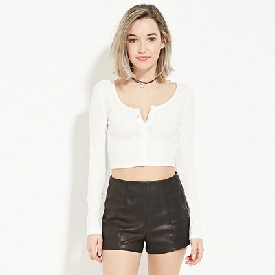 Must-have Vogue Sexy Slimming Long Sleeves White Summer T-shirt Crop Top Top - Bonny YZOZO Boutique Store