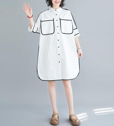 Creamy white loose shirt, dresse for women, shirt for girlfriend, comfortable 3/4 sleeve color matching shirt
