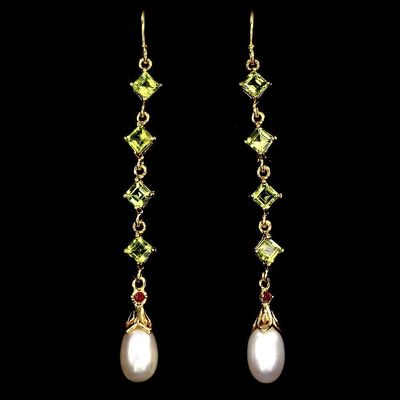 Perfect 14K Yellow Gold 28.60TCW Natural Green Peridot Red Ruby and Pearl Earrings $69.00