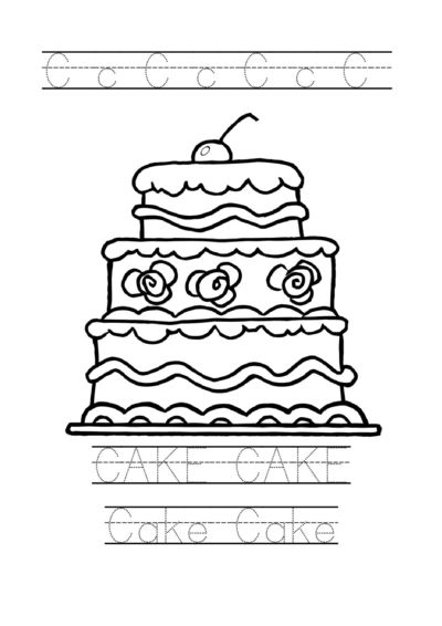 tracing word cake worksheet cake coloring page for preschoo free printable tracing sheets. Black Bedroom Furniture Sets. Home Design Ideas