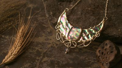 Sterling Silver Surface- Pendant Crescent Moon The symbol of Lake Unicorns. with iridescent and dihroic stain glass. $84.00