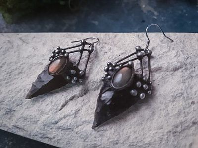 Earrings from Natural Stone- Obsidian and labrodorite, Necklace, Witchcraft Jewelry For Men and Women, Shamanic Jewelry $60.00