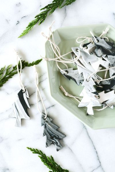 Oleander and Palm: DIY Marble Tree Ornaments