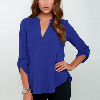 2017 Women V Neck Solid Chiffon Blouse Spring Sexy lady Long Sleeve Blusa Fashion Blouses Shirt Tops Plus Size S-5XL New $21.61