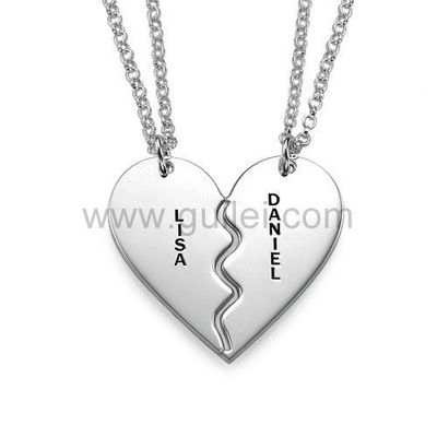 Gullei.com Custom Names Engraved Split Hearts Couples Jewelry