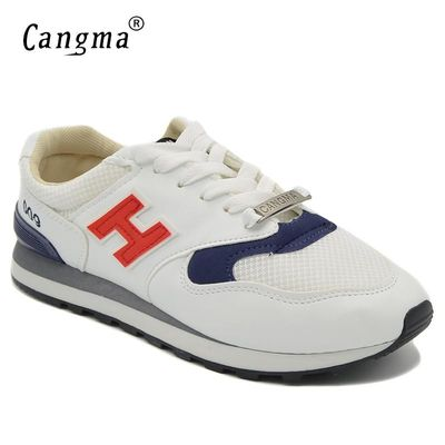 CANGMA Brand Men Casual Shoes Spring Autumn Breathable Shoes Men White Black Gray Mesh Lace-up Male Sneakers $26.92