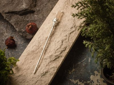 Chinese metal silver plated hair stick with smoky quartz, Hair Clip $43.00