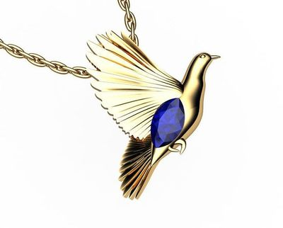 Bird Pendant Minimalist pendant 14K yellow gold Blue Pendant Wings Pendant Peace Bird Sapphire Pendant Marquise stone including chain $1288.00