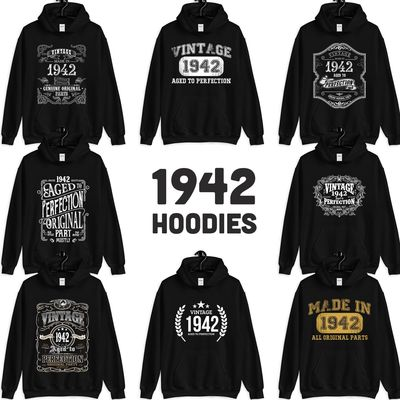 1942 Birthday Gift, Vintage Born in 1942 Hooded Sweatshirt for women men, 78th Birthday Hoodies for her him, Made in 1942 Hoodie 78 Year Old $23.99