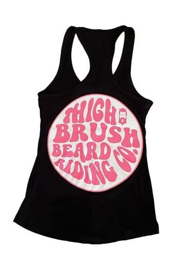 THIGHBRUSH® BEARD RIDING COMPANY - Women's Logo Tank Top - Black with Pink and White