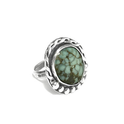 Chunky Sterling Silver Variscite Stone Ring Size 7 1/2 | Silver Peak Nevada Mineral | Gemstone Statement Ring $44.00