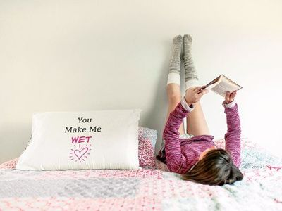 You make me wet a sexy ,dirty rude vulgar pillow case gag gift  batchelor party  batchelorette party   $19.95
