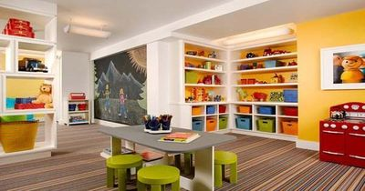 Basement Playroom Ideas Striped Floor