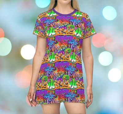 Graffiti Style T Shirt Festival Dress Moisture Wicking Strong Elastic Fabric Vibrant Best Quality Pigment Inks Sizes XS - 2XL $24.99 https://www.etsy.com/shop/LAFabriKDesigns?ref=ss profile