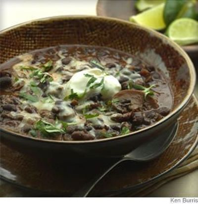 ... tomatillos combine with smoky chipotles in this #vegetarian chili