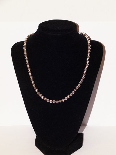 "Sterling Silver Italy Made 5mm Bead 16"" Long Necklace. $61.75"