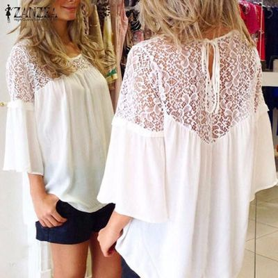 Summer Style Chiffon Patchwork Lace Solid Shirt Casual Loose White Blouse $16.56