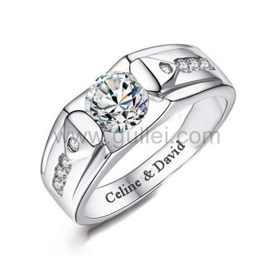 Gullei.com Mens Engagement Ring with Engraving Sterling Silver 7.8mm