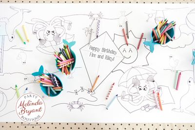 Beach Birthday Decor Coloring Page Table Runner Pool Party First Birthday Decorations Destination Wedding Kids Craft Children's Activities $28.74