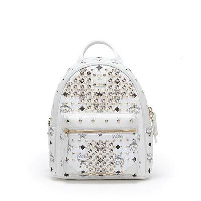 MCM Mini Diamond Visetos Backpack In White