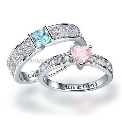Gullei.com Personalized Matching Wedding Rings Set Unisex Silver Topaz