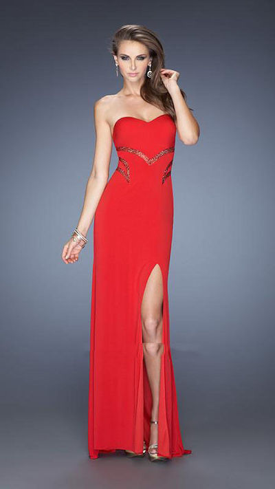 Red Floor Length Strapless Side Split Sexy Prom Gown By La Femme