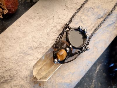 Citrine witch « potion » with mirror and natural gem - tiger eye. Citrine protection amulet necklace. $67.00