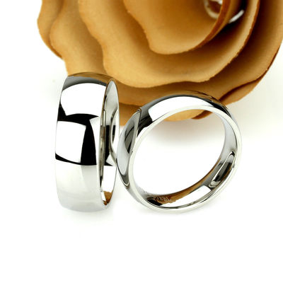 His And Hers Stainless Steel Wedding Band Set, 8mm, 6mm, Classic Domed Ring, Stainless Steel Promise Ring Set, Steel Ring For Couple $71.00