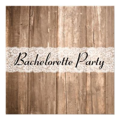 Shabby Chic Vintage Brown Wood Bachelorette Party Personalized Invite