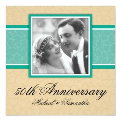 Gold Emerald 50th Anniversary Party Invitations