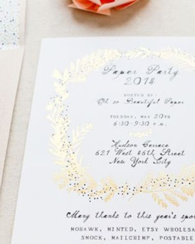 Paper Party 2014 Gold Foil Party Invitations by Mr. Boddington's Studio, Smock, Mohawk, and Meant to Be Calligraphy for Oh So Beautiful Paper