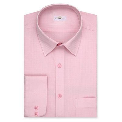 Create a stylish look with this Oxford Men Pink Self Check shirt. Woven in Egyptian cotton. this check shirt has a fine finish.  • 100% Egytptain Cotton  • Classic collar  • French cuff  • Oxford Men  â€...