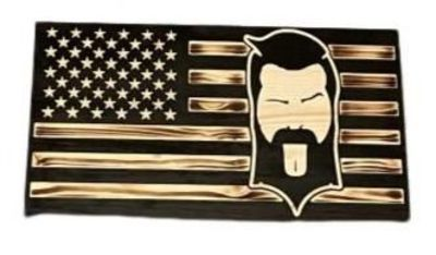 THIGHBRUSH® Flag Plaque - Burnt Lacquered Pine - Face Logo
