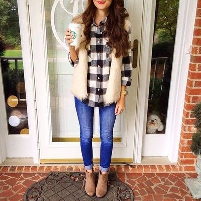 fur vest with plaid shirt outfit