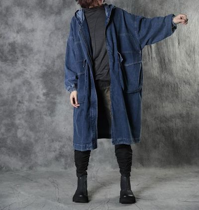 Blue denim plus size coat, Women Oversize Thin coat, Loose cowboy Windbreaker, Pocket coat, Coat for Women