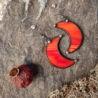 Crescent Moon red Earrings with Hypoallergenic Stainless Steel Earring Hooks! Stain Glass Witchy Earrings, Festival Boho Earrings. $20.00