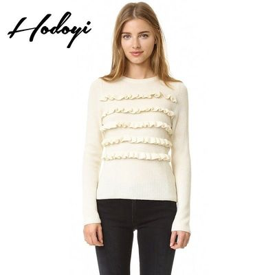 Vogue Sweet Slimming Scoop Neck Accessories One Color Spring Casual Frilled 9/10 Sleeves Sweater - Bonny YZOZO Boutique Store