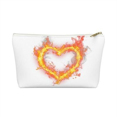 Heart on fire Accessory Pouch w T-bottom, valentine's day gift, mothers day gift, £13.41