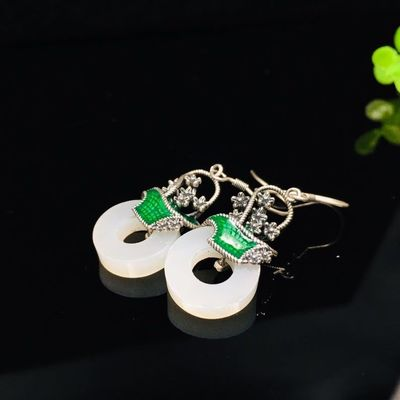 Earrings for women - Hotan jade earrings - Wedding Earrings - Dangle earrings - Prom earrin - Flower basket earrings - Party earrings