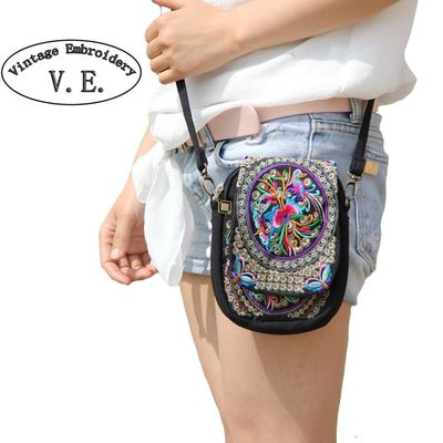 Boho Ethnic Embroidery Bag Vintage Embroidered Canvas Cover Shoulder Messenger Bags Women Small Coins Travel Beach Phone Purse $31.73