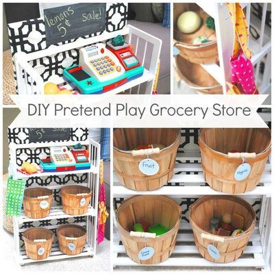 DIY Kids Pretend Play Grocery Store from a Bookcase. When not in use it acts as storage for outdoor toys in the garage.